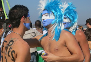 "Argentinian Fans ""dressing"" for the game"